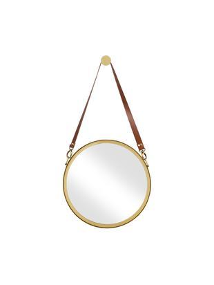 Runder Wandspiegel Liz mit brauner Lederschlaufe, Spiegelfläche: Spiegelglas, Gold, Ø 40 cm