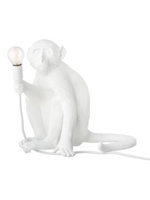 Design Tischleuchte Monkey, Kunstharz, Weiß, 34 x 32 cm