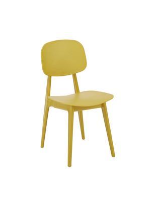 Krzesło z tworzywa sztucznego Smilla, 2szt., Nogi: metal malowany proszkowo, Żółty, matowy, S 43 x G 49 cm