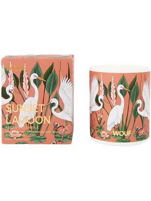 Świeca zapachowa Sunset Lagoon (geranium, białe kwiaty, drewno cedrowe), Wosk wegetariański, szkło, Wielobarwny, Ø 8 x W 10 cm