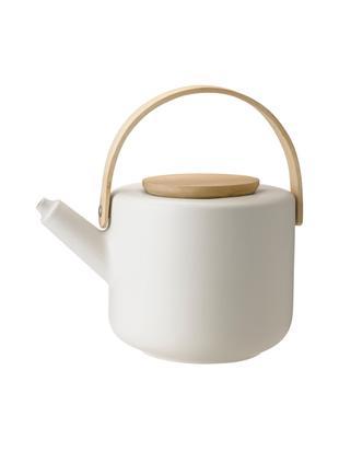 Theekan Theo, Pot: keramiek, Gebroken wit, bamboekleurig, 1.25 L