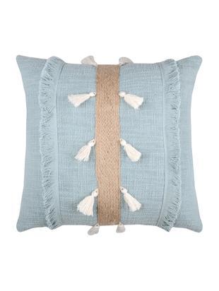 Poduszka  dekoracją z juty z wypełnieniem Eivissa Stripe, Bawełna, Jasny niebieski, beżowy, S 40 x D 40 cm