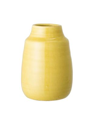 Vaso decorativo fatto a mano Julia, Terracotta, Giallo, Ø 15 x Alt. 21 cm