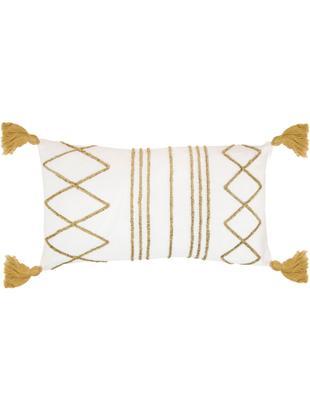 Kissenhülle Istanbul mit Hoch-Tief-Muster aus Chenille und Quasten, 50% Baumwolle, 50% Velours, Weiss, Gelb, 30 x 50 cm
