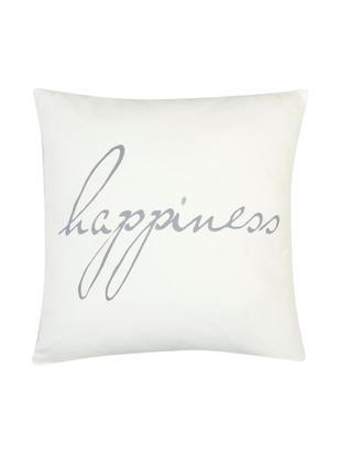 Federa arredo con scritta Happiness, Cotone, tessuto panama, Grigio, crema, Larg. 40 x Lung. 40 cm