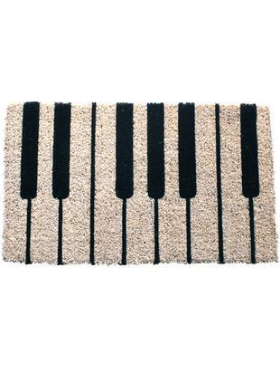 Zerbino in cocco Piano, Retro: materiale sintetico (PVC), Nero, crema, Larg. 40 x Lung. 60 cm