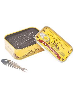 Set de pinchos para comer Sardine, 7pzas., Estaño, acero inoxidable, Amarillo, An 11 x Al 8 cm