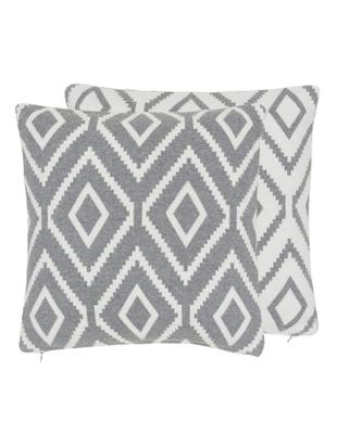 Strick-Wendekissenhülle Chuck mit grafischem Muster in Grau/Weiß, Baumwolle, Grau meliert, Cremeweiß, 40 x 40 cm