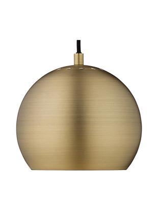 Kleine Kugel-Pendelleuchte Ball, Lampenschirm: Messing, gebürstet, Messing, Schwarz, Ø 18 x H 16 cm