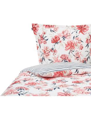 Mako-Satin-Wendebettwäsche Peony, floral/gestreift, Webart: Satin Öko-Tex Standard 10, Weiß, Rosa, Blau, 135 x 200 cm