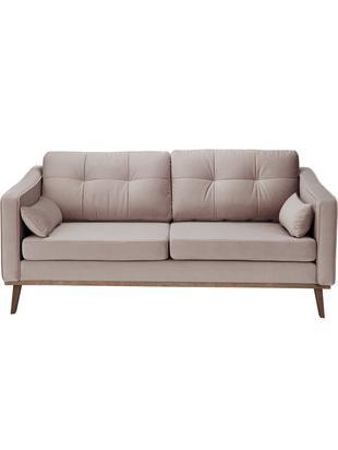 Samt-Sofa Alva (2-Sitzer), Bezug: Samt (Hochwertiger Polyes, Gestell: Massives Kiefernholz, Füße: Massives Buchenholz, gebe, Samt Taupe, B 184 x T 92 cm