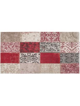 Alfombra Multi, Parte superior: 85%chenilla (algodón), 1, Reverso: mezcla de algodón, recubi, Rojo, beige, negro, An 80 x L 150 cm (Tamaño XS)