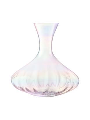 Decanter in vetro soffiato Pearl, Vetro, Riflessi madreperlacei, Alt. 23 cm