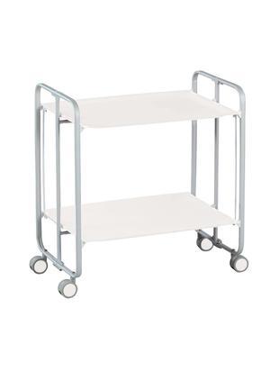 Camarera Carrito, Estructura: acero, Estantes: melamina, Blanco, gris, An 66 x H 72 cm