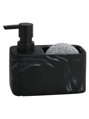 Set dispenser sapone effetto marmo Galia 2 pz, Nero, marmorizzato, argento, Larg. 15 x Alt. 14 cm