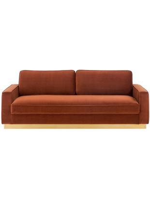 Sofa z aksamitu Chelsea (3-osobowa), Tapicerka: aksamit (wysokiej jakości, Stelaż: masywne drewno świerkowe, Stelaż: metal powlekany, Tapicerka: rudy Stelaż: odcienie złotego, błyszczący, szczotkowany, S 228 x G 100 cm