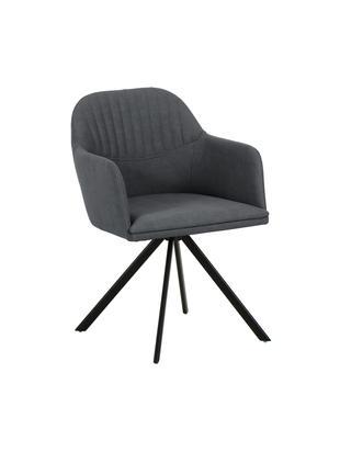 Krzesło obrotowe ze sztucznej skóry z podłokietnikami Lola, Tapicerka: sztuczna skóra (poliureta, Nogi: metal malowany proszkowo, Antracytowy, S 52 x G 57 cm