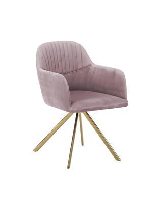 Samt-Drehstuhl Lola mit Armlehne, Bezug: Samt (100% Polyester) 50., Beine: Metall, galvanisiert, Mauve, B 55 x T 52 cm