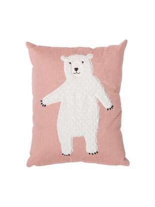 Poduszka Bear, z wypełnieniem, Tapicerka: 70%bawełna, 30%polieste, Blady różowy, biały, S 40 x D 50 cm