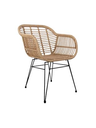 Krzesło z podłokietnikami Costa, 2 szt., Stelaż: metal malowany proszkowo, Siedzisko: beżowy Stelaż: czarny, S 59 x G 61 cm