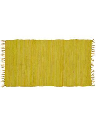 Baumwollteppich Chindi in Gelb mit Fransen, Baumwolle, recycelt, Zitronengelb, B 70 x L 130 cm (Grösse XS)