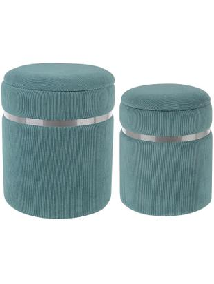 Set de pufs Remvira, 2 pzas., Estructura: tablero de fibras de dens, Tapizado: poliéster, Azul, plateado, Famaños diferentes