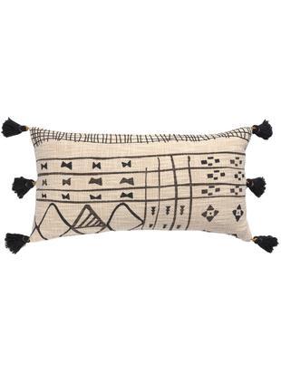 Federa arredo con nappe Nilo, Cotone, Beige, nero, Larg. 30 x Lung. 60 cm