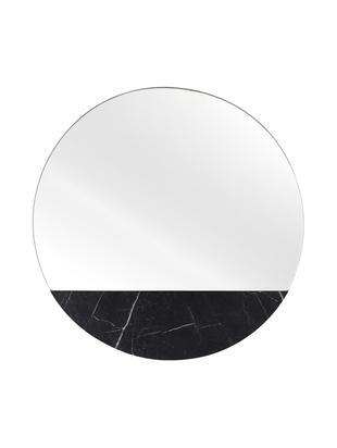 Lustro ścienne Stockholm, Czarny wzór marmurowy, Ø 40 cm