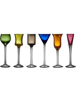 Mundgeblasene Schnapsgläser-Set Lyngby, 6-tlg., Glas, Grün, Blau, Braun, Gelb, Lila, Orange, Ø 4 x H 18 cm
