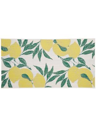 In- & outdoor vloerkleed Limonia, Bovenzijde: polypropyleen, Onderzijde: polyester, Crèmewit, geel, groen, B 80 x L 150 cm (maat XS)