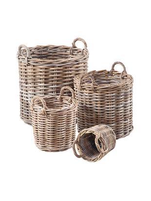 Set de cestas Caor, 4pzas., Ratán Kubu, Marrón, Tamaños diferentes