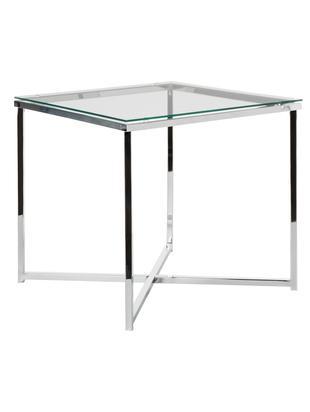 Tavolino con piano in vetro Matheo, Struttura: metallo cromato, Piano d'appoggio: vetro temperato, Metallo, cromato, Larg. 50 x Alt. 45 cm