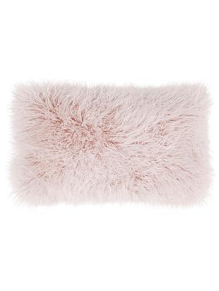 Poszewka na poduszkę ze sztucznego futra Morten, kędzierzawa, Blady różowy, S 30 x D 50 cm