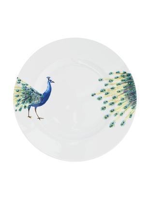 Platos llanos Peacock, 2uds., Porcelana, Blanco, azul, amarillo, verde, Ø 27 cm