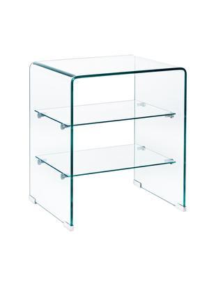 Comodino in vetro con ripiani Glasse, Vetro, Trasparente, Larg. 50 x Alt. 58 cm