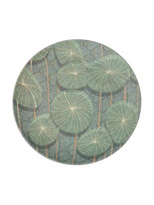 Piatto da colazione in bambù Nymphaea, Fibre di bambù, verniciato, Blu, verde, Ø 20 x Alt. 2 cm