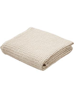 Baumwoll-Tagesdecke Tempy mit strukturierter Oberfläche, Baumwolle, Hellbeige, 180 x 260 cm