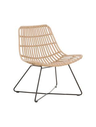 Sessel Costa mit Kunststoff-Geflecht, Sitzfläche: Polyethylen-Geflecht, Gestell: Metall, pulverbeschichtet, Hellbraun, B 64 x T 64 cm