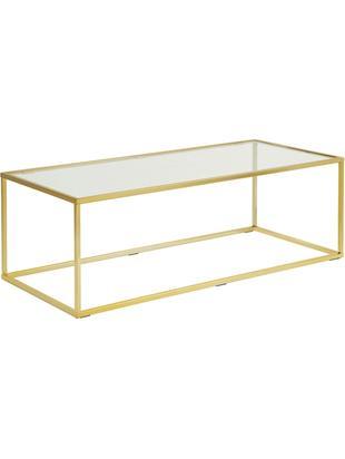 Couchtisch Maya mit Glasplatte, Tischplatte: Sicherheitsglas, Gestell: Metall, galvanisiert, Tischplatte: Glas, transparentGestell: Goldfarben, glänzend, B 110 x T 50 cm