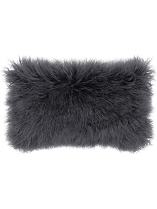 Poszewka na poduszkę ze sztucznego futra Morten, kędzierzawa, Ciemny szary, S 30 x D 50 cm