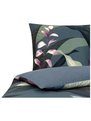 Parure copripiumino in raso di cotone Flora, Tessuto: raso Densità del filo 210, Fronte: multicolore Retro: grigio scuro, 155 x 200 cm