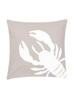 Federa arredo con motivo trapuntato Lobster, Cotone, Taupe, bianco, Larg. 40 x Lung. 40 cm