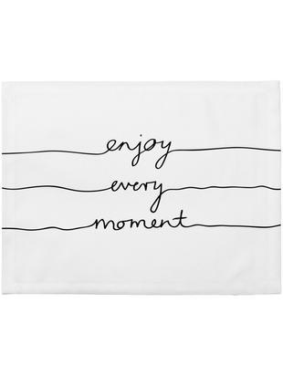 Tovaglietta americana Enjoy every Moment 4 pz, Poliestere, Bianco con macchie nere, Larg. 35 x Lung. 45 cm