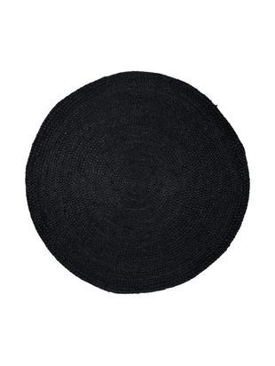 Alfombra redonda artesanal de yute Sheela, Parte superior: yute, Reverso: yute, Negro, Ø 100 cm (Tamaño XS)