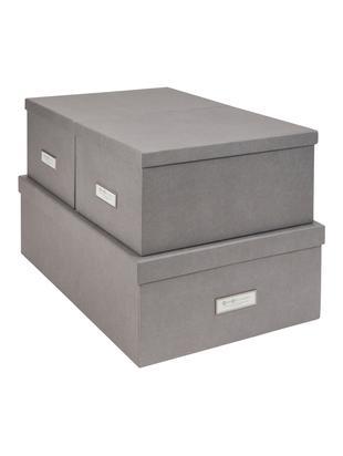 Set scatole portaoggetti Inge, 3 pz., Scatola: solido, cartone laminato, Scatola esterno: grigio chiaro Scatola interno: bianco, Diverse dimensioni