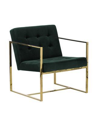 Fluwelen fauteuil Manhattan, Bekleding: fluweel (polyester), Frame: gecoat metaal, Groen, B 70 x D 72 cm