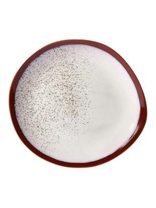 Handgemachter Speiseteller 70's, 2 Stück, Keramik, Rot, Weiß, Ø 29 cm
