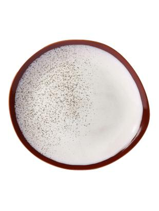 Handgemachter Speiseteller 70's, 2 Stück, Keramik, Rot, Weiss, Ø 29 cm