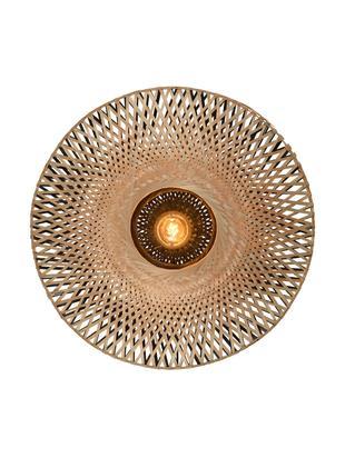 Wandlamp Kalimantan met stekker, Lampenkap: bamboehout, Bamboehoutkleurig, zwart, Ø 60 x D 15 cm