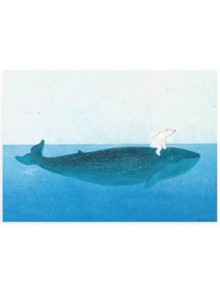 Poster Riding the Whale, Carta, Tonalità blu, Larg. 59 x Alt. 42 cm